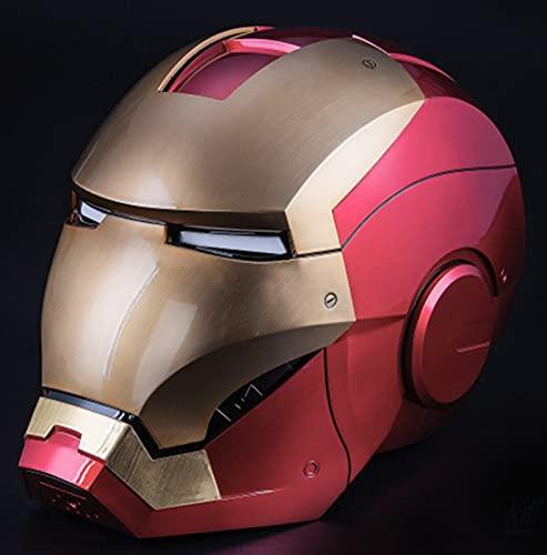 Iron Man electrónico Casco Máscara, Marvel Avengers Superhéroe ABS Máscaras Luminosos Cascos de Halloween Cosplay Accesorios Película Deluxe Edition, MK7<63cm