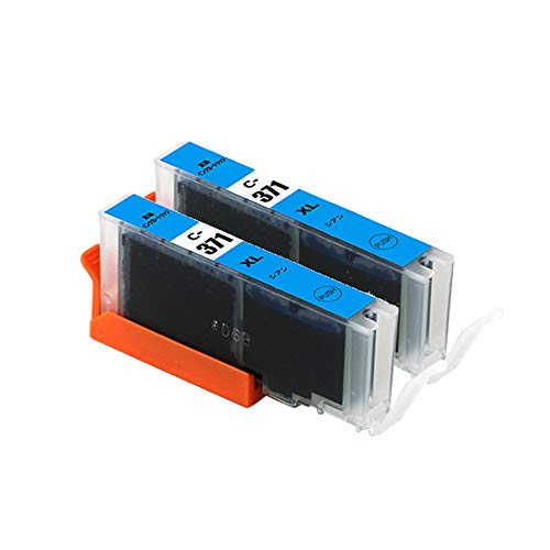 【pomme】 BCI-371XLC シアン お得な2本セット 大容量 キヤノン対応 互換インク 残量表示機能付 ISO14001/ISO9001認証工場 1年安心保証 (BCI-370 BCI-371 BCI-370XL BCI-371XL)