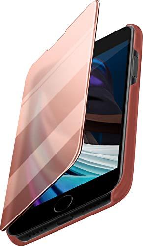 moex Dünne 360° Handyhülle passend für iPhone SE (2020) | Transparent bei eingeschaltetem Bildschirm - in Hochglanz Klavierlack Optik, Rose-Gold