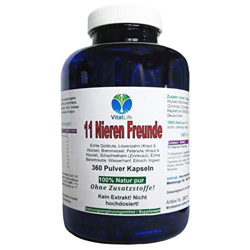 11 Nieren Freunde 360 Kapseln. Natürlich starke Kräuter für Nieren + Blase + Harnwege. NATUR pur OHNE Zusatzstoffe. 26311
