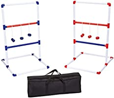 Amazon Basics Ladder Toss Outdoor Lawn Game Set with Soft Carrying Case - 40 x 24 Inches, Red and Blue
