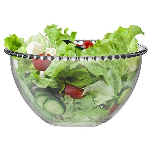 Grand verre Bol de service avec une Perles Edge – Une Utilisation comme Saladier, bol à mélanger, bol de fruits ou Bol de décoration – H11 X Diamètre 20 cm – Passe au lave-vaisselle et au micro-ondes