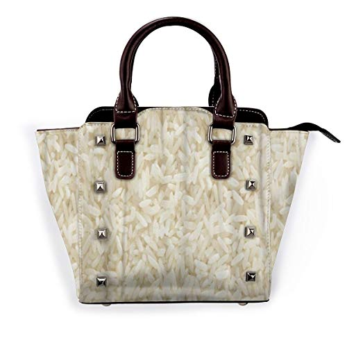 BROWCIN Weißer langer Reis ungekochte rohe Getreide-Makro-Nahaufnahme Abnehmbare mode trend damen handtasche umhängetasche umhängetasche
