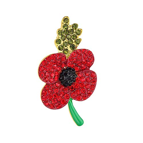 TOOGOO Poppy Brooch Symbolic Crystal Diamante Remembrance Day Poppy Pin Badge (3#)
