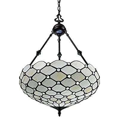"""Amora Lighting Tiffany Style Hanging Lamp Jeweled Chandelier 18"""" Wide Stained Glass White Antique Vintage Light Decor Restaurant Game Living Dining Room Kitchen Gift AM1117HL18B"""