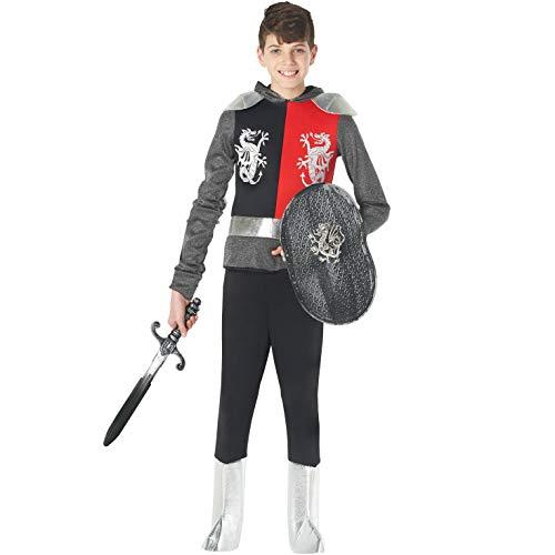 Morph Caballero matadragones Plateado Medieval Disfraz Carnevale - 3 - 5 años