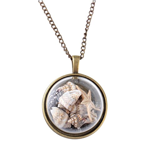 Long Sweater Chain Statement Necklace Beach Conch Shell Sea Star Ocean Element Glass Cover Pendant for Women Girls