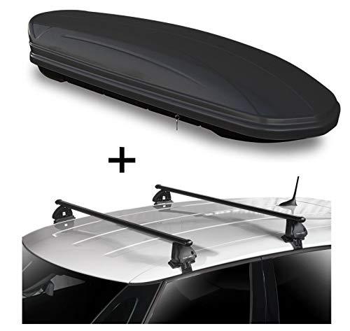 Dachbox VDPMAA460 460 Liter schwarz matt abschließbar + Dachträger VDP EVO Stahl kompatibel mit Mini Clubman (F54) *** 5 Türer ab 2015