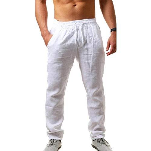 VANVENE Pantalones de lino para hombre, ajuste holgado, casual, ligero, elástico, con cordón, para yoga, playa, pantalones