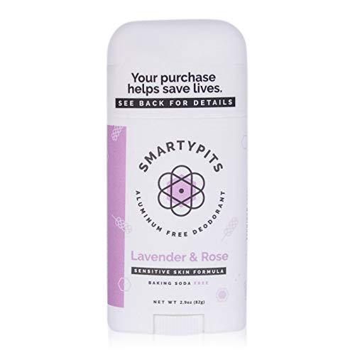 SmartyPits – Natural/Aluminum-Free Deodorant for Sensitive Skin (baking soda free) Paraben Free, Phthalate Free, PROPYLENE GLYCOL FREE, Not Tested on Animals | 2.9oz | (Lavender Rose)