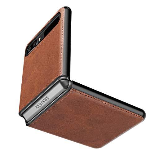 Cresee Hülle für Samsung Galaxy Z Flip 5G / Galaxy Z Flip, PU-Leder Handyhülle Hülle Schutzhülle Cover, Braun