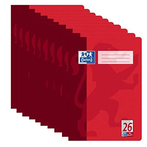 Oxford Schule Schulheft A4 kariert, mit Rand, Lineatur 26, 32 Blatt, hochwertiges 90 g/m² Papier, rot, 10er Pack