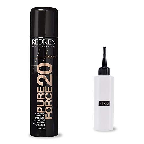 Redken Pure Force, 250 ml, superstarkes Finish-Spray, Haar-Spray gegen Frizz für alle Haar-Typen, inkl. Applikator-Flasche, 2er Set