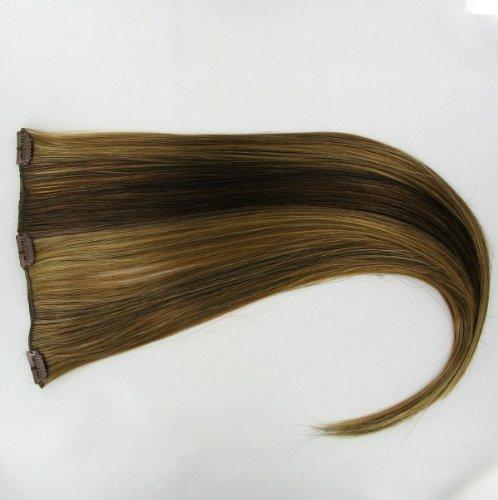 Extensions à clip cheveux châtain cuivré méché blond clair 60 cm ref: 6bt27b
