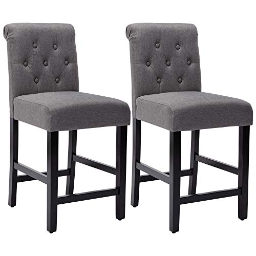 24 Inches Fabric Counter Height Bar Stools Set of 2, Upholstered BarStools with Button Tufted Backrest and Solid Wood Legs,Gray