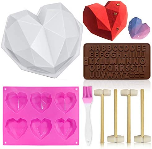 Heart Mold Silicone Molds Diamond Heart Love Shaped Molds Trays Non Stick Letter Chocolate Molds product image