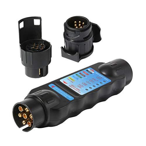 VORCOOL 7 Pin Auto LKW Anhänger Steckdose Tester Verdrahtung Schaltung Licht Test Tool Diagnose-Tools (schwarz)