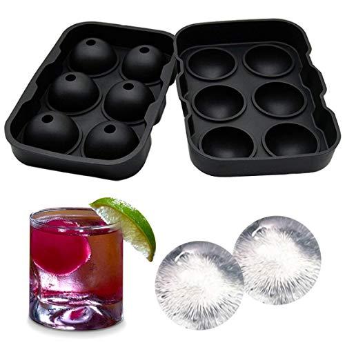 Eiskugelform Ice Ball Mould Sphere Silikon Ice runden Maker 6 x 4,5 cm, perfekt für japanischen Whiskey, Cocktail und jedes Getränk schwarz