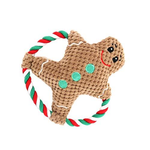 KESYOO Haustier Kauspielzeug Plüsch Quietschend Weihnachten Hundespielzeug Braun Lebkuchenmann Kauen Beißen Spielzeug Baumwollseil Katze Hunde Welpen Zahnreinigung