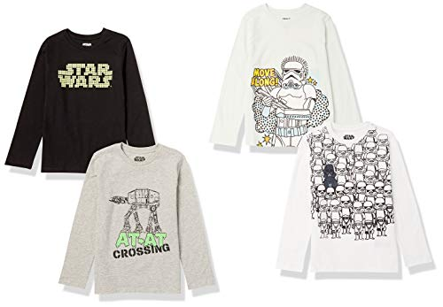 Spotted Zebra Boys' Kids Disney Marvel Long-Sleeve T-Shirts, 4-Pack Star Wars Storm Troopers, Small