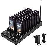 433,92 MHz Sistema de Pager Inalámbrico, 999 Canales, Sistema de Paging de Alta sensibilidad con 20 receptores de Pager Recargables y 1 emisor para Restaurante, cafetería