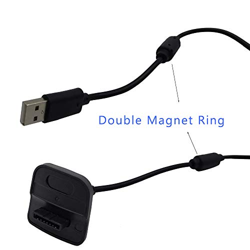 Xbox 360 Charging Cable for Xbox 360 Wireless Game Controllers,2 Pack Black