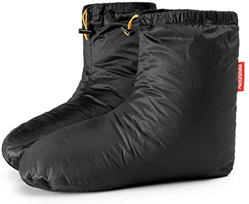 Lovexy Ultralight Winter Goose Down Booties Socks Slippers Warm Soft Cozy Water-Resistant for Camping Backpacking Indoor Down Filled Slipper Boots with Storage Bag (Size M)
