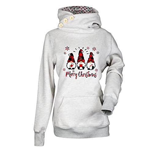 ZFQQZXC Pullover a Maniche Lunghe con Cappuccio e Stampa Multicolore di Natale Autunno/Inverno da Donna