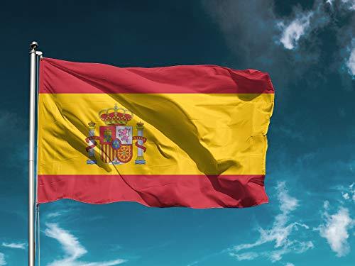 G   Bandera España   Medidas 100cm x 70cm   Fácil colocación   Decoración Exteriores (1 Unidad)