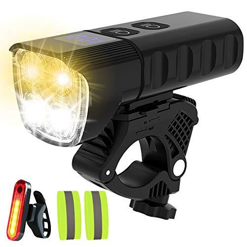 GT HITGX Fahrradlicht Fahrrad-Frontlichtset, 4 LED 3000LM Superhelle weiße und gelbe Scheinwerfer USB Wiederaufladbarer 6400mAh Powerback, wasserdichte Fahrradscheinwerfer & Rücklicht
