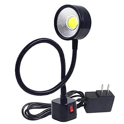 Led Magnetic Work Light 300mm Flexible Gooseneck lamp 500 Lumens 120 Volt for Sewing Machine Lathe Milling Drill Press Industrial Lighting