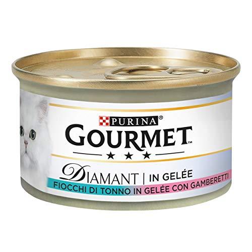 PURINA GOURMET DIAMANT Umido Gatto Fiocchi di Tonno in Gelée con Gamberetti- 24 lattine da 85g ciascuna (confezione da 24x85g)
