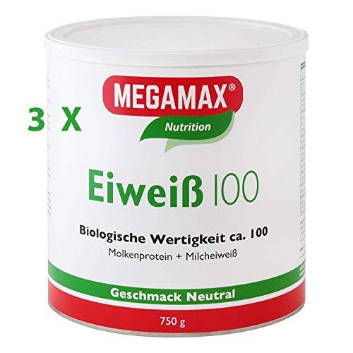 Megamax Eiweiss Neutral Spar-Set 3 x 750 g | Molkenprotein + Milcheiweiß Für Muskelaufbau ,Diaet | 2k-Eiweiss ideal zum Backen | hochwertiges Low Carb Shake | aspartamfrei Eiweiss mit Aminosäuren