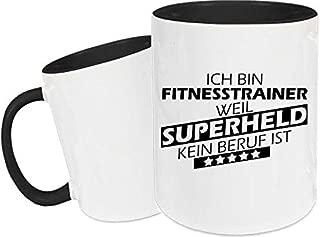 Shirtstown Taza de Cerámica, Taza, Super Héroe para Besten Profesión del Mundo, Colega, Job - Fitnesstrainer Superheld, 330 ml