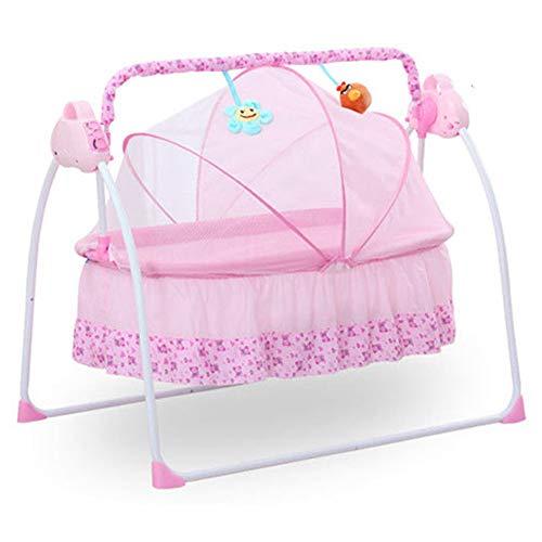 Culla Altalena elettrica automatica Lettino Letto con materasso neonato Bambino (Rosa)
