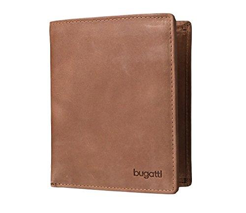 Bugatti Volo Geldbeutel Männer Leder Hochformat - Geldbörse Herren Cognac - Portmonaise Portemonnaie Portmonee Brieftasche Wallet Ledergeldbeutel