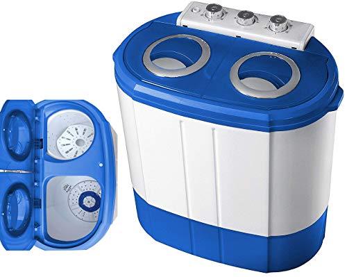 Mini Waschmaschine mit Schleuder | 2 Kammern | Waschautomat bis 3 KG | Schleuderkammer bis 1 Kg | Reisewaschmaschine | Miniwaschmaschine | Camping Mobile Waschmaschine | Toploader