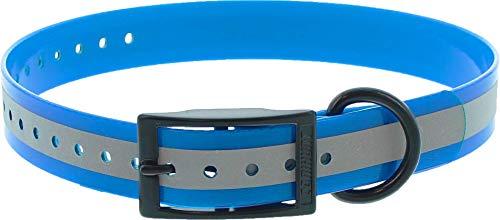 Canihunt Halskette Xtreme PU – doppelte Schnalle – 16 Farben (2,5 x 0,25 x 65 cm, reflektierend blau)