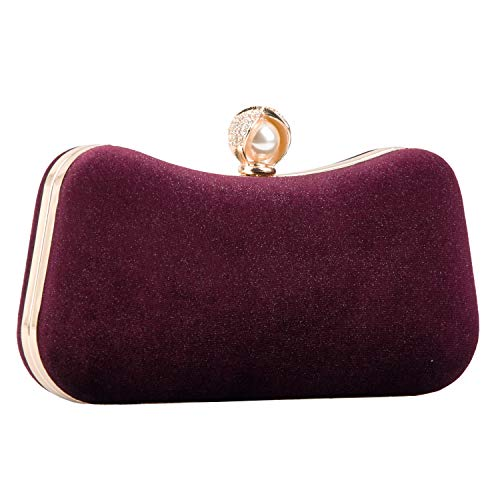 Crossbody Clutch Evening Bag for Women Formal Classic Clutch Handbag Purse Totes, Red Wine 1, Large