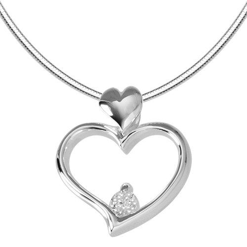 Vinani Anhänger Zirkonia Herz mit Schlangenkette 45 cm Sterling Silber 925 Kette Italien AZH45