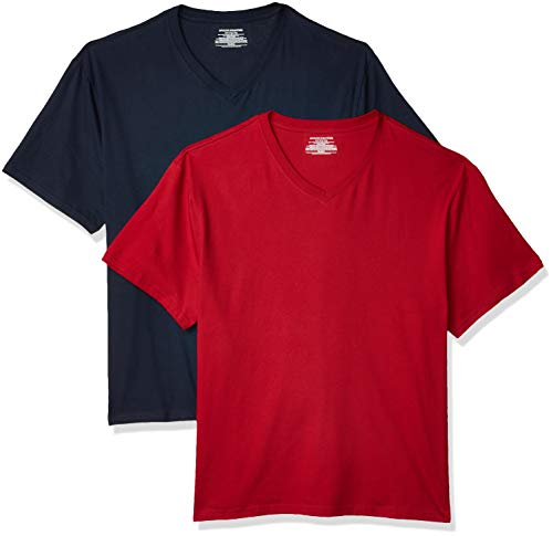 Amazon Essentials Men's Big & Tall 2-Pack Short-Sleeve V-Neck T-Shirt fit by DXL, -Navy/Red, 3X