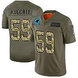NFL Jersey manga corta -Carolina panteras estadounidense Rugby Jersey, bordado de tela, bordado aficionados Versión niño de los hombres de las camisetas No. 1, No. 59, versión verde del ejército