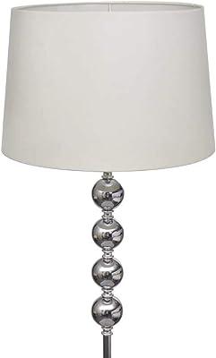 vidaXL Lampe de Sol à Long Pied 5 Boules de Décoration Blanc Lampe de Chevet
