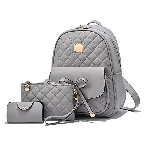 EVEOUT Damen Rucksack PU Leder Lässiger Tagesrucksack zum Reisen Schule Arbeit Schultertasche Rucksack Set (Stil 2 Grau)