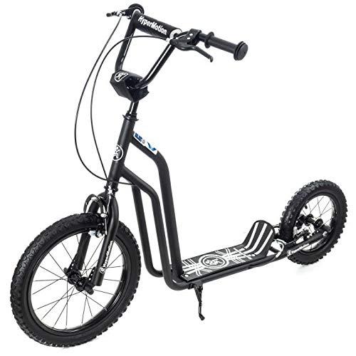 HyperMotion Viva Tretroller, 16 Zoll, Traglast 50 kg, für Kinder und Jugendliche, Rahmen aus massivem Stahl, 2 Bremsen, höhenverstellbar, 88 – 92 cm, große aufblasbare Räder 40 und 30 cm, Schwarz