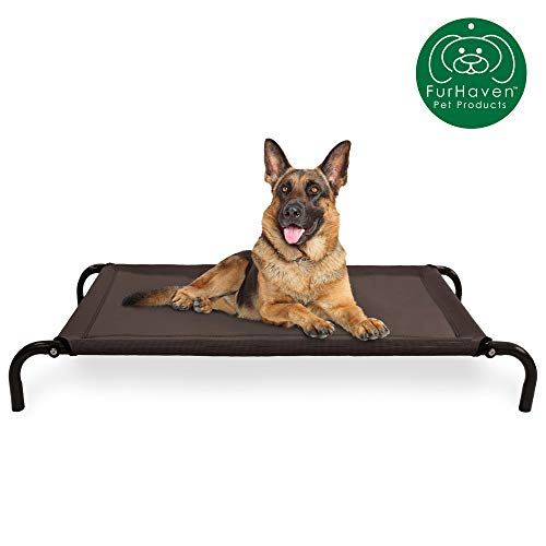 Furhaven Pet Dog Bed   Mold & Mildew Resistant Breathable Cooling Mesh Elevated Pet Cot Bed for Dogs & Cats, Espresso, Large
