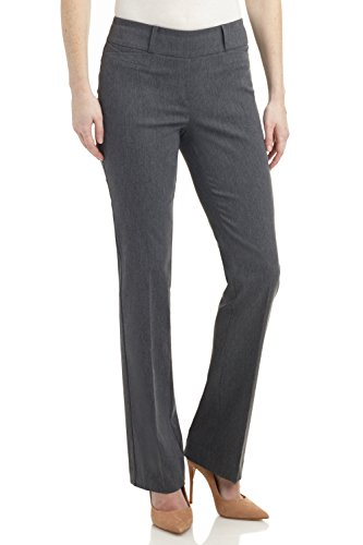 Rekucci Women s Ease in to Comfort Fit Barely Bootcut Stretch Pants (12, Charcoal)