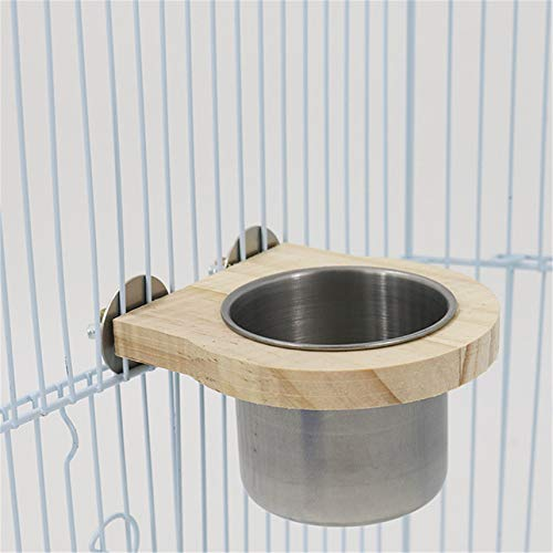 GGQT Stainless Steel Birds Food Water Bowl with Clamp Holder, Parrot Cage Feeding Cup with Bracket Holder