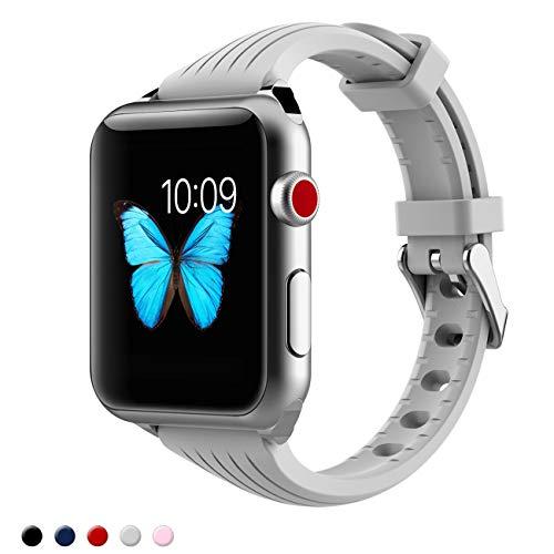 Kppto Cinturino di Ricambio Per Apple Watch da 38/40mm, Cinturino iWatch Sottile in Silicone da Donna per Serie di Apple Watch Serie4 3 2 1 Taglia S/M M/L (38/40mm, Grigio C)