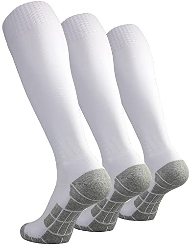 CWVLC Toddler Soccer Socks Kids Football Sport 3 Pairs Team Athletic Knee High Long Tube Cotton Compression Socks White X-Small (12C-13C Kids/ 1Y-3Y Youth)